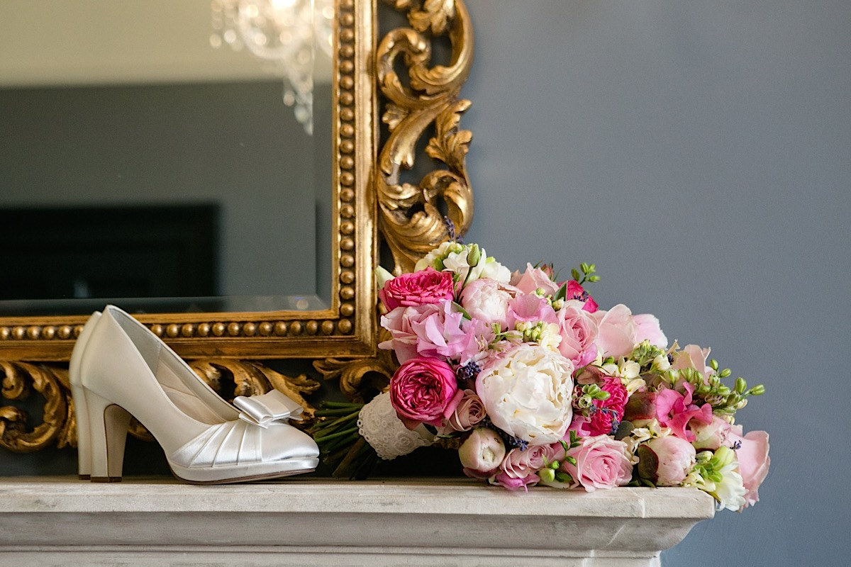 Daisylane Floral Design pink and ivory bouquet with satin wedding shoes
