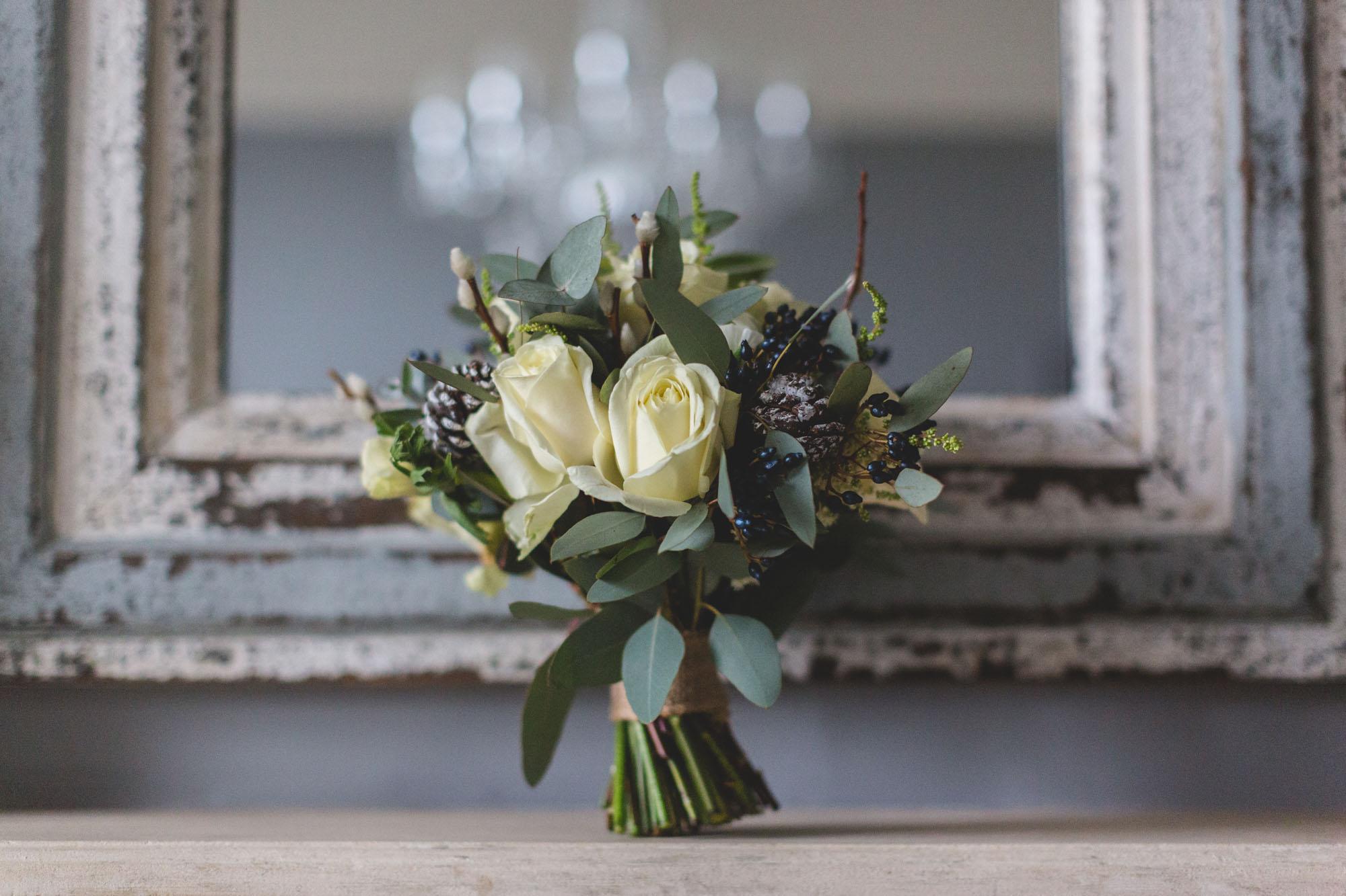 Winter white wedding bouquet Daisylane Floral Design