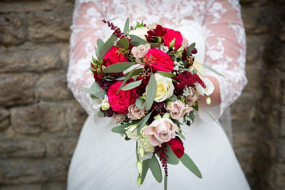 Bristol wedding florist pink and red bridal bouquet