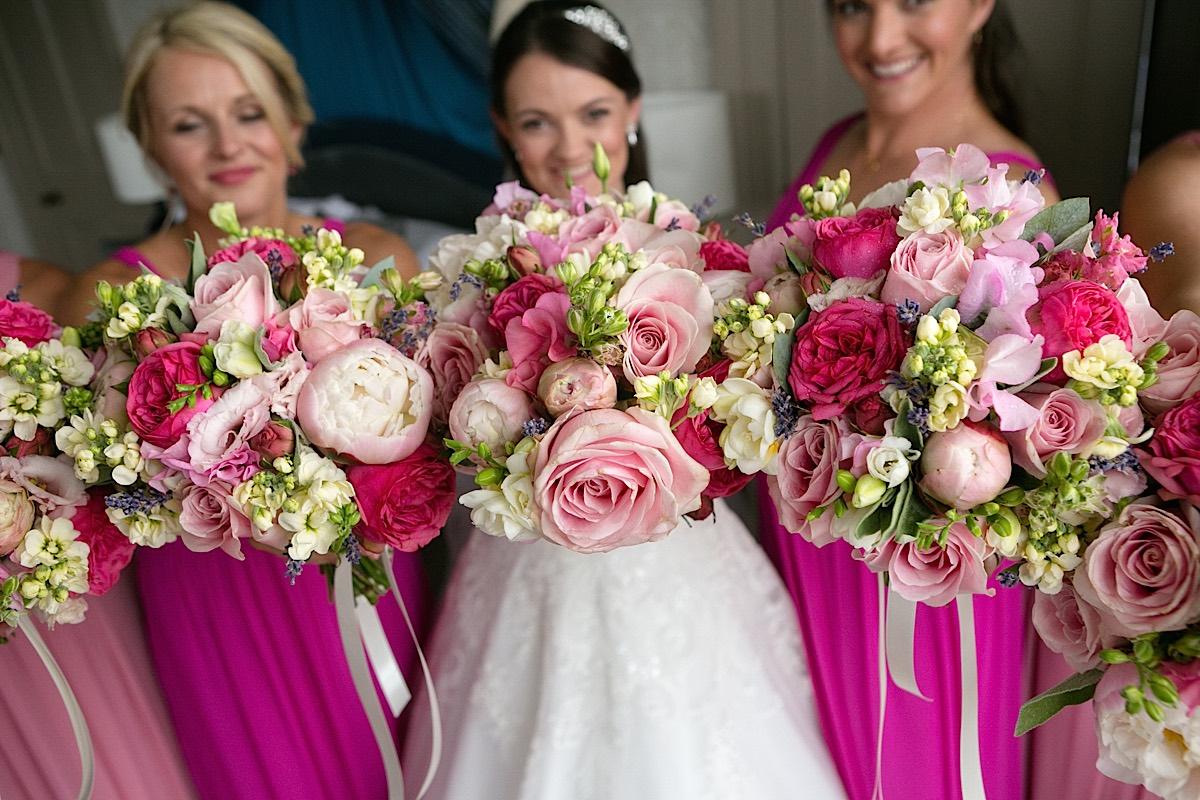 Daisylane Floral Design pink peonies and roses bridal bouquet