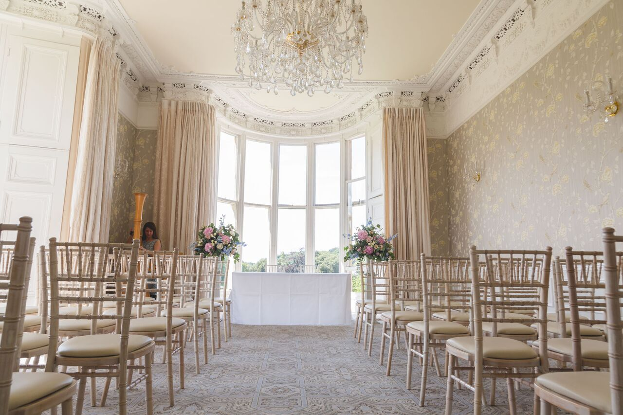 ceremony wedding flowers at Clevedon Hall