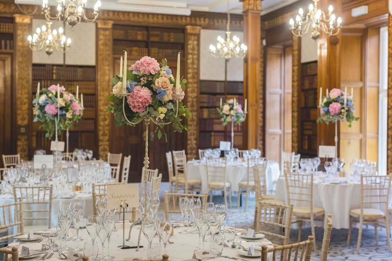 Wedding Flowers at Clevedon Hall tall candelabra arangements pink and blue hydrangeas