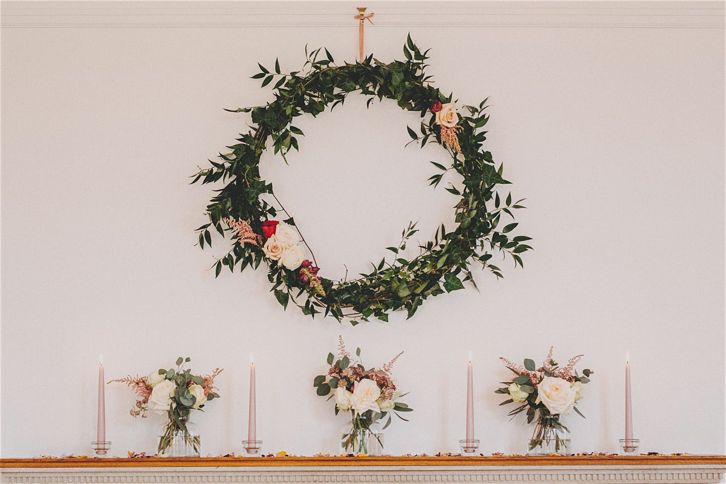 Hanging foliage hoop Daisy Lane Floral Design at Coombe Lodge near Bristol