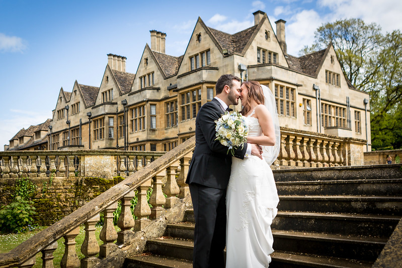 Bride and groom at Coombe Lodge near Bristol