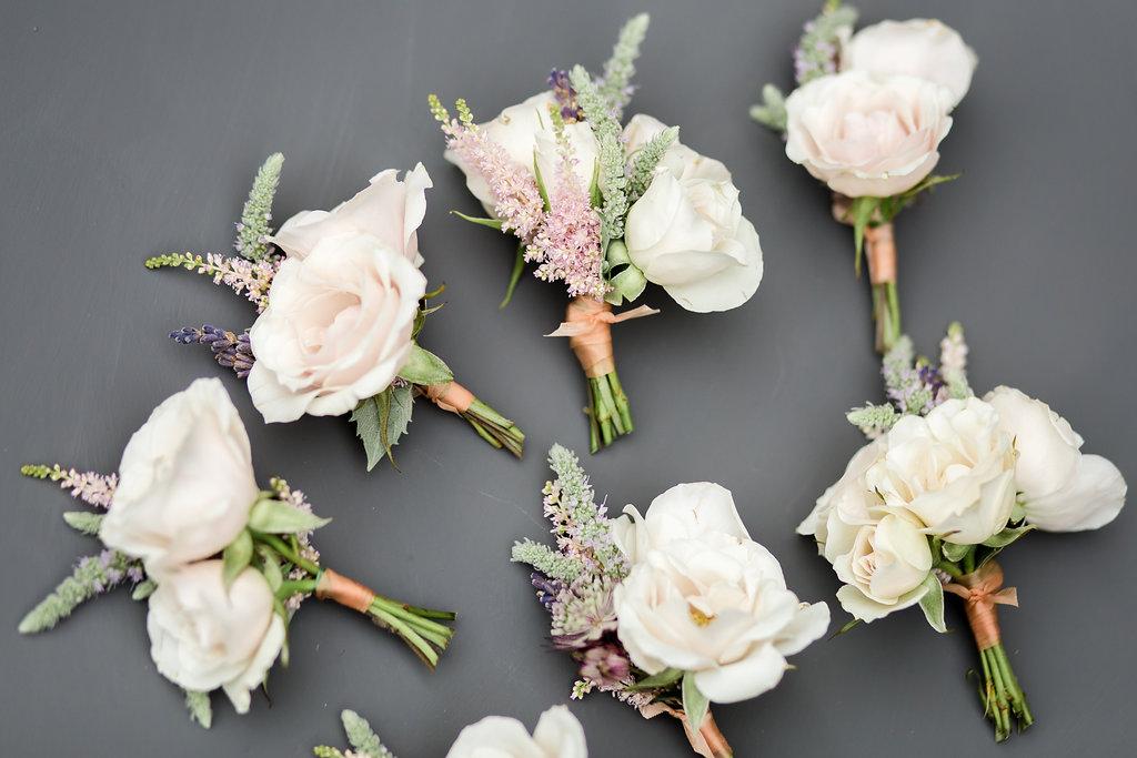 pale pink buttonholes