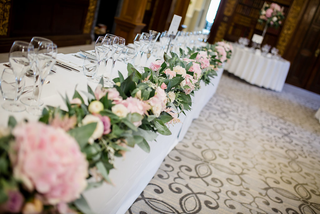 top table floral runner at Clevedon Hall