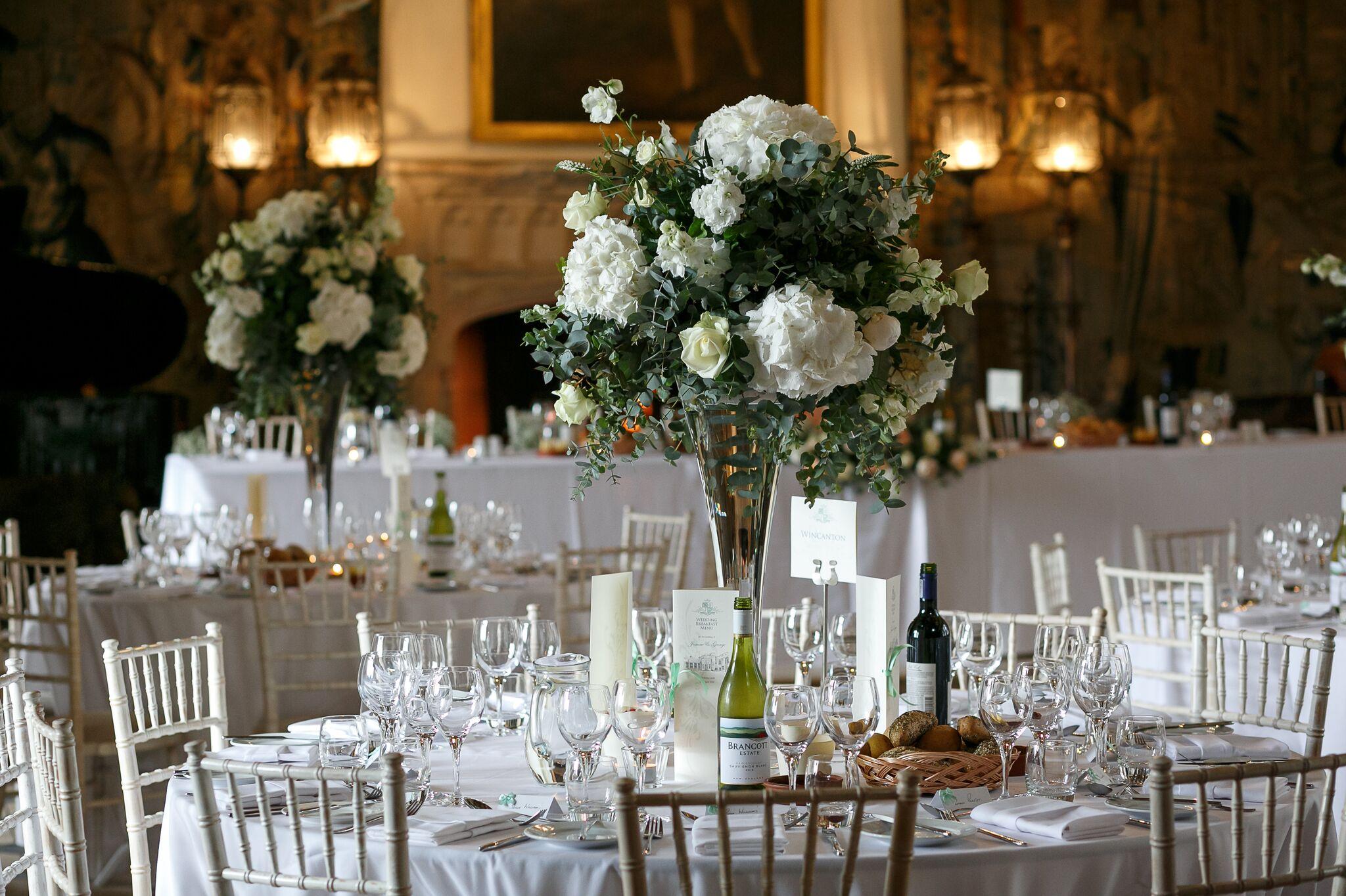 Large white hydrangeas wedding centrepieces