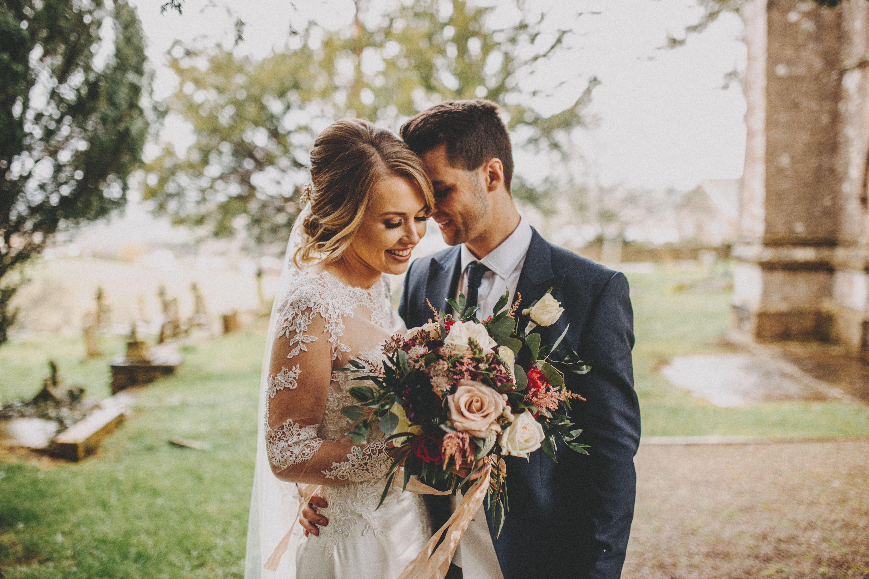 bride and groom rustic wedding bouquet