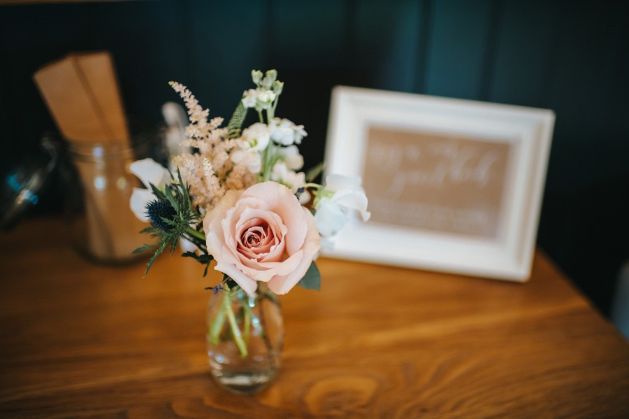 pale pink bud vase wedding priston mill