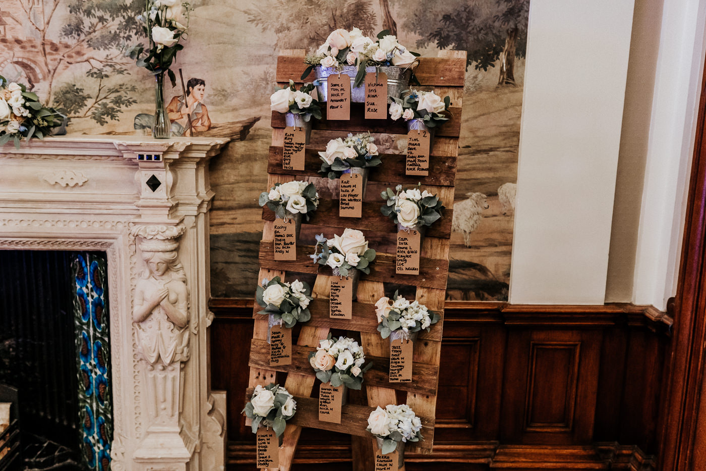 floral arrangements decorating rustic wooden table plan