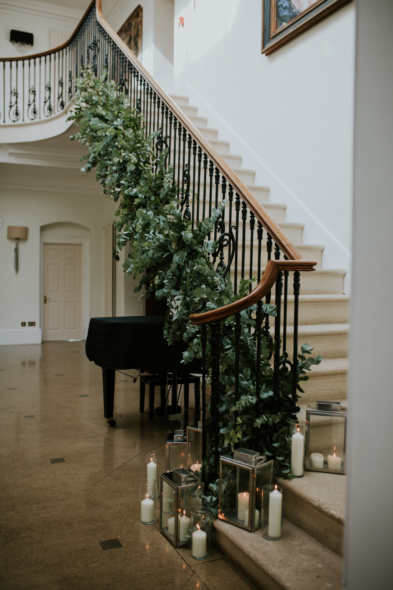 foliage-only stair garland wedding flowers