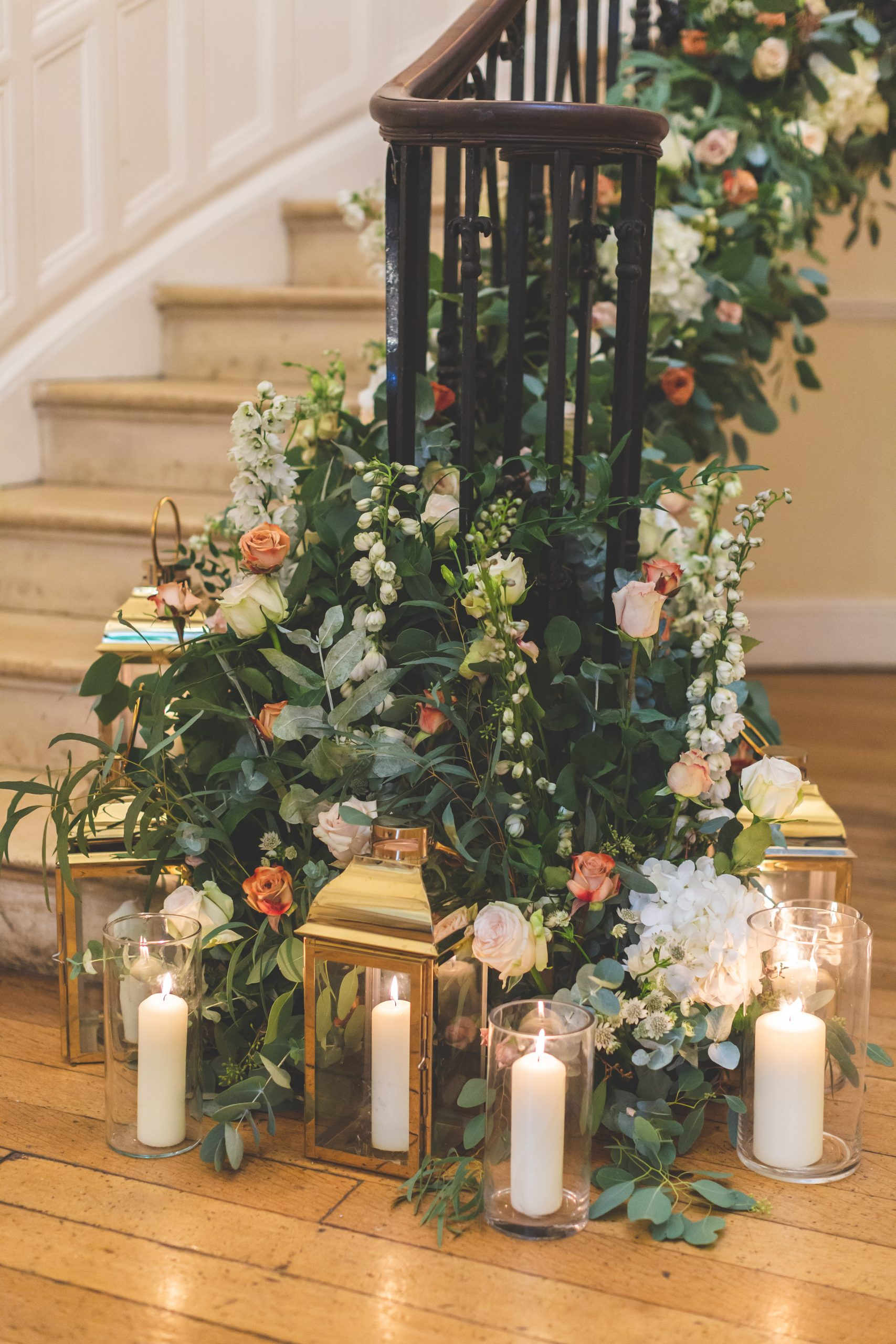 floral staircase garland daisy lane floral design at eastington park