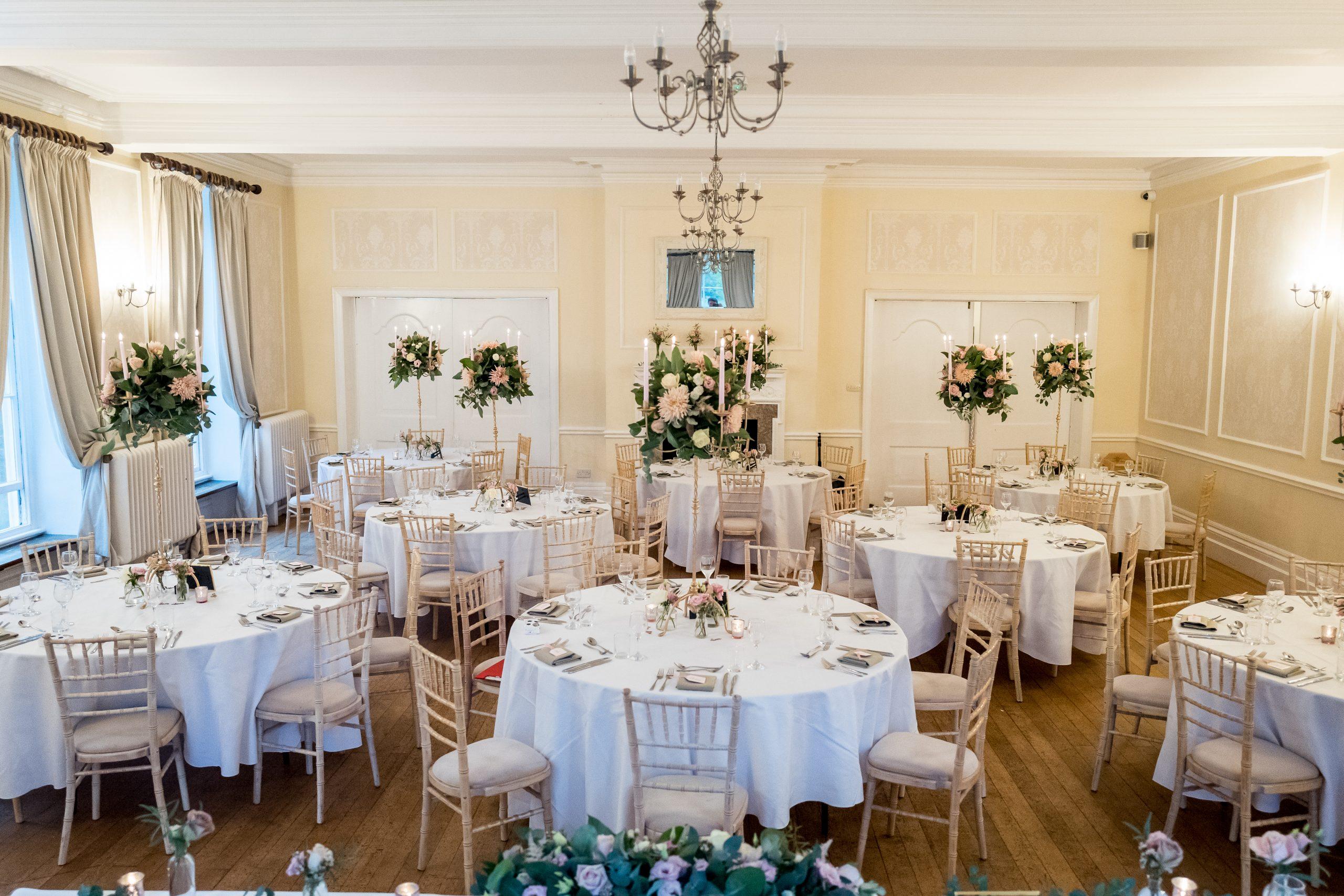 wedding breakfast flowers at eastington park gloucestershire