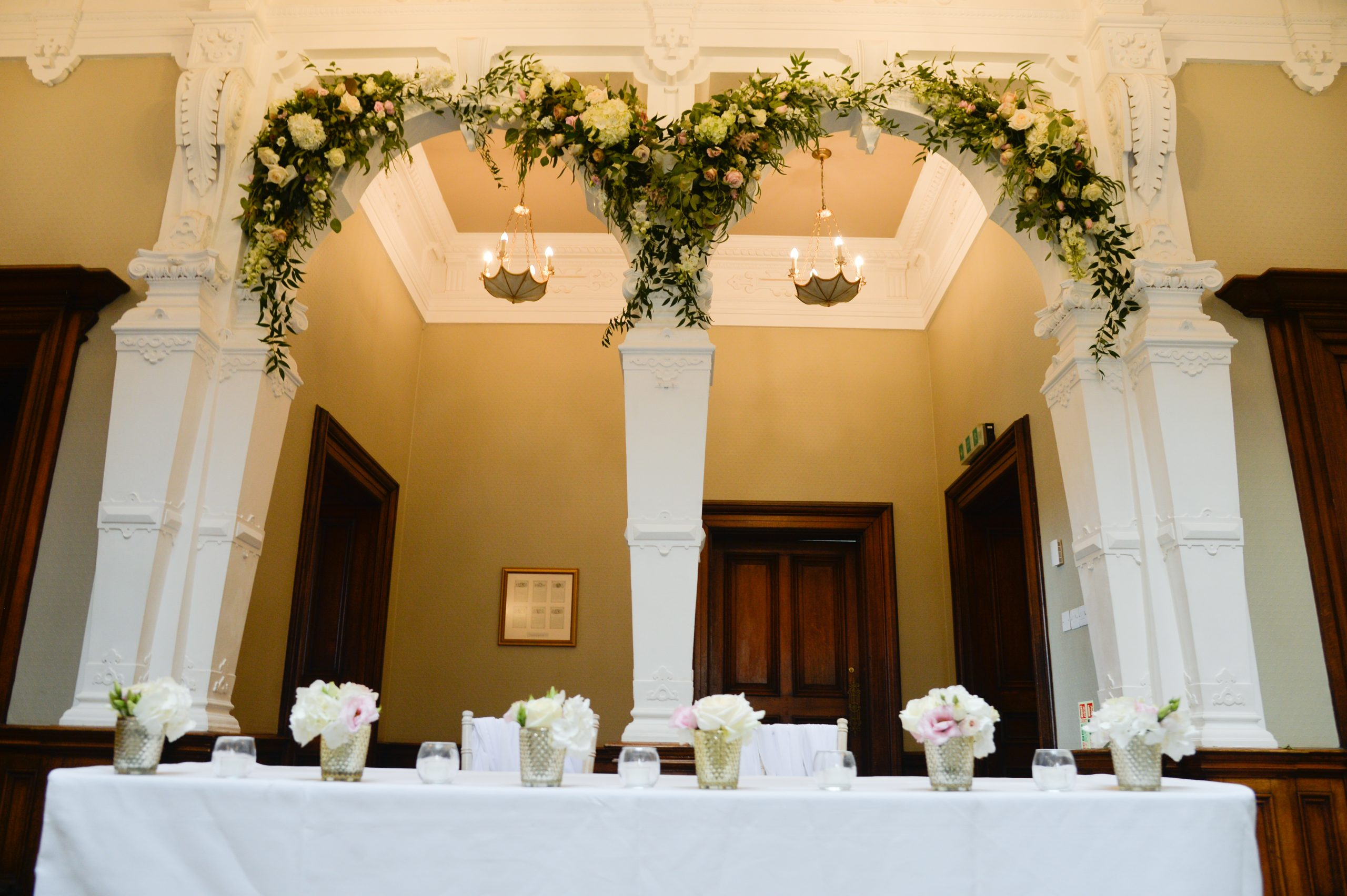 floral installation ceremony flowers Clevedon Hall