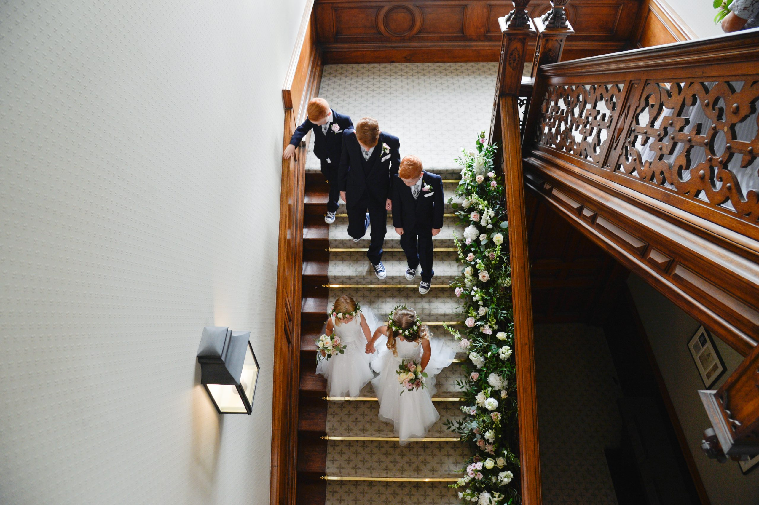floral staicase installation at Clevedon Hall