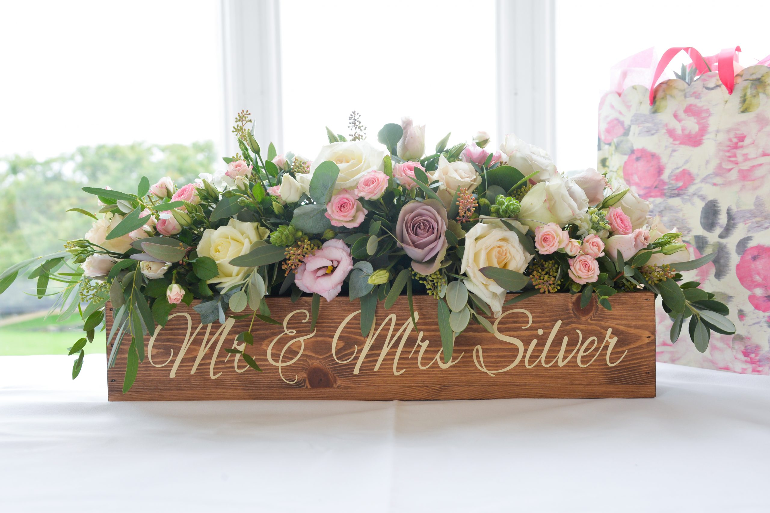 Mr and Mrs Silver floral arrangement in wooden box