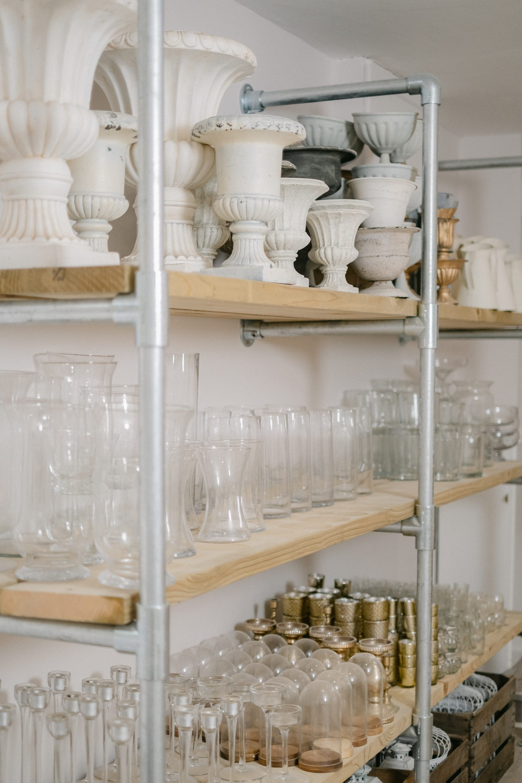 vases and urns on shelving