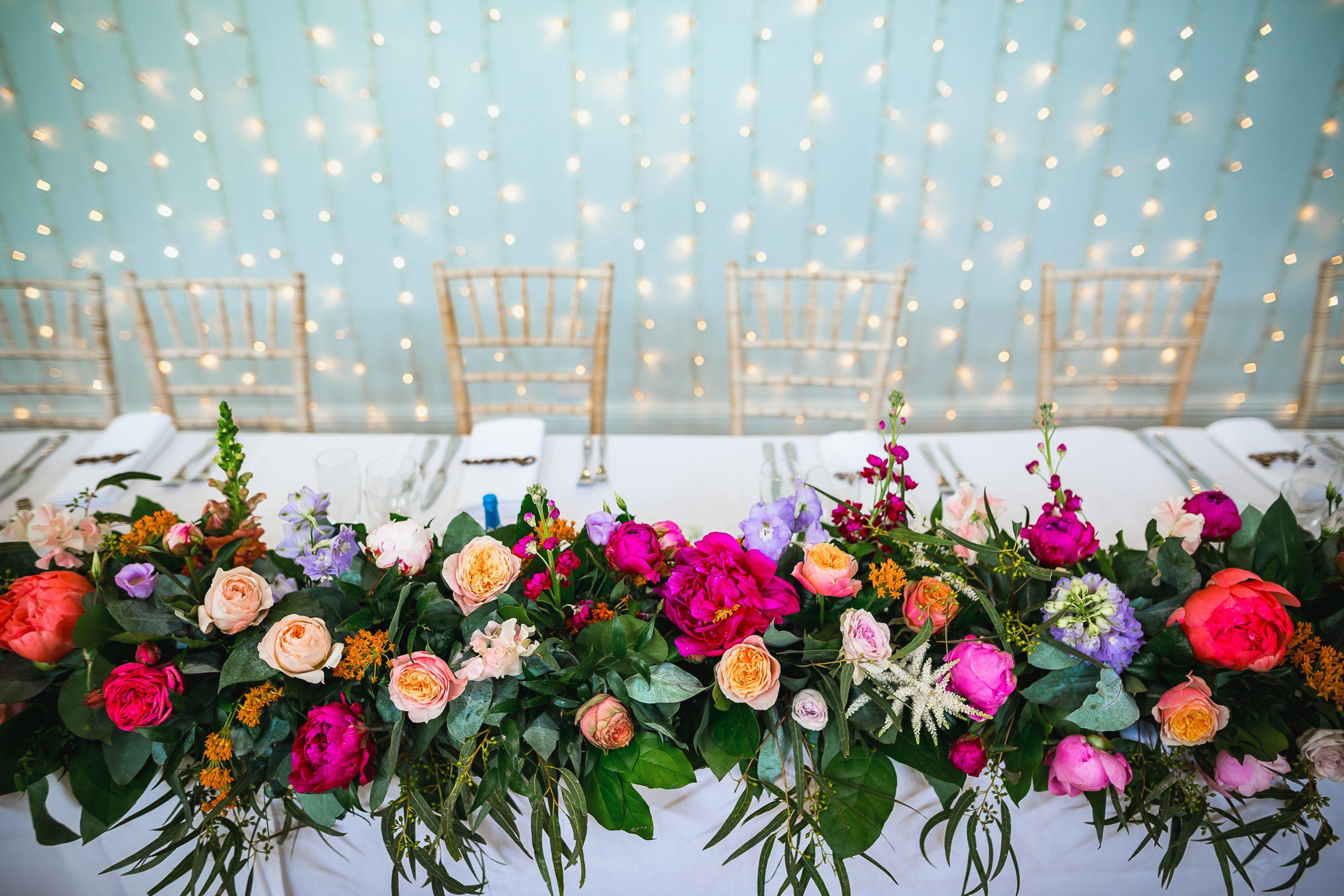 floral cascading table runner wedding flowers